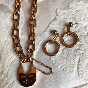 Michael Kors rose gold bracelet and earrings. EEUC
